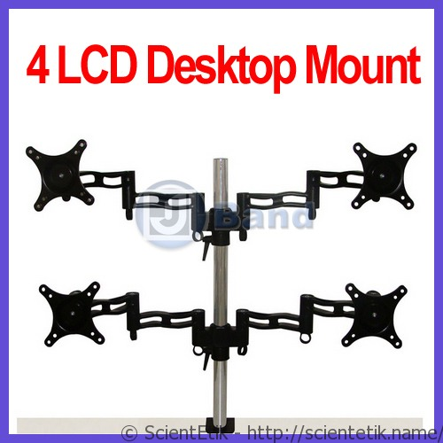 FOUR-QUAD-LCD-DESK-MOUNT-Stand-4-MONITORS-Mount